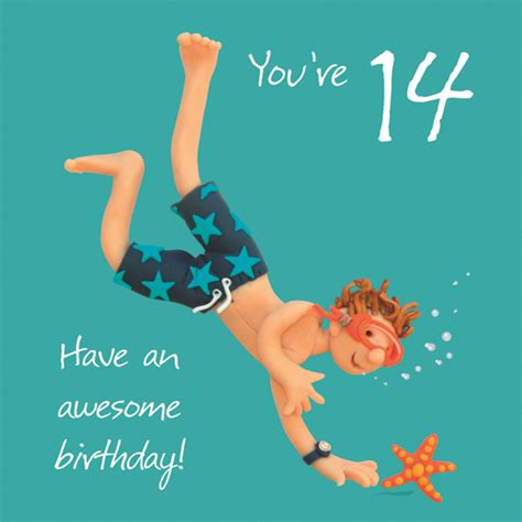 Happy 14th Birthday Wishes Boys 14th Birthday Greeting Card Cards Love Kates