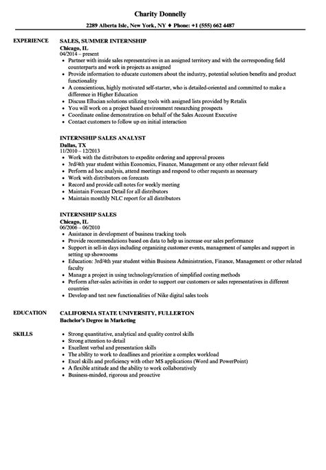 sle of resume for internship internship sales resume sles velvet