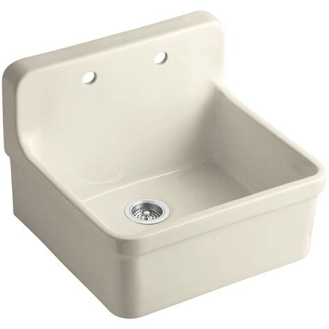 2 sinks in kitchen kohler gilford farmhouse apron front wall mount vitreous china 24 in 2 single basin