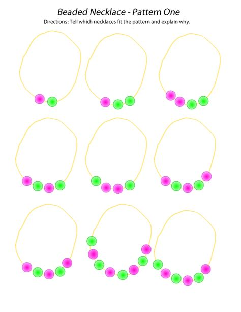 bead pattern worksheet beaded necklace pattern one