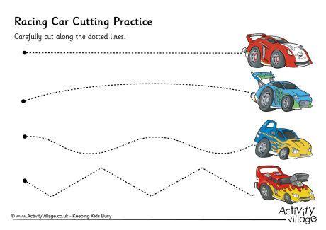 preschool scissor activities printable racing car cutting practice pre k and kindergarten