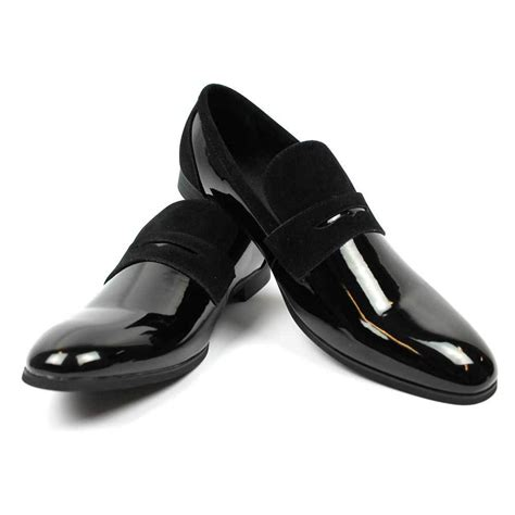 tuxedo slippers shoes new s black tuxedo slip on patent suede details dress