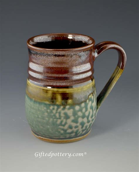 Handcrafted Pottery Mugs - handmade pottery mug 4 5 quot plum green 12 oz