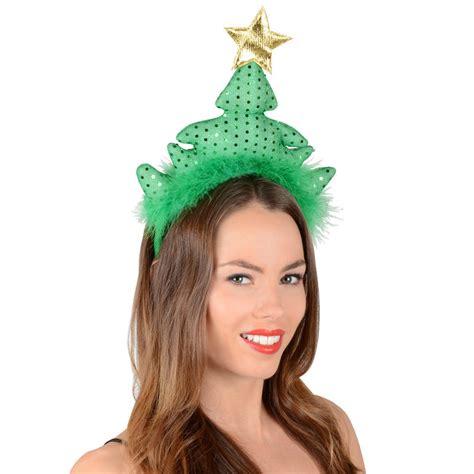 green sequin christmas tree festive xmas novelty headband