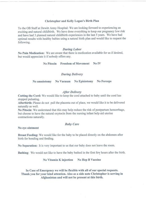 The First Commandment Natural Birth Plan Nice And Simple Mine Is Crazy Long And Specific Doula Birth Plan Template