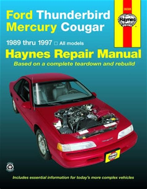 service and repair manuals 1994 mercury cougar windshield wipe control ford thunderbird mercury cougar haynes repair manual 1989 1997 hay36086