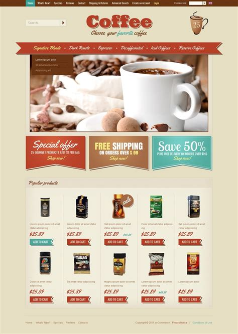 coffee shop oscommerce template 37842