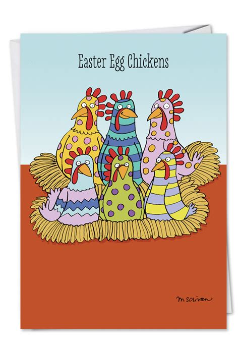 A Greeting An Advice A Question On Easter by Easter Egg Chickens Greeting Card Nobleworks Cards