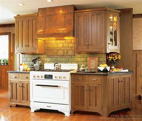 mission oak kitchen cabinets craftsman kitchen 169 crown point cabinetry www crown
