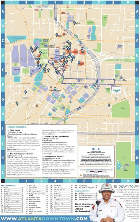 map of usa showing atlanta atlanta downtown restaurants map