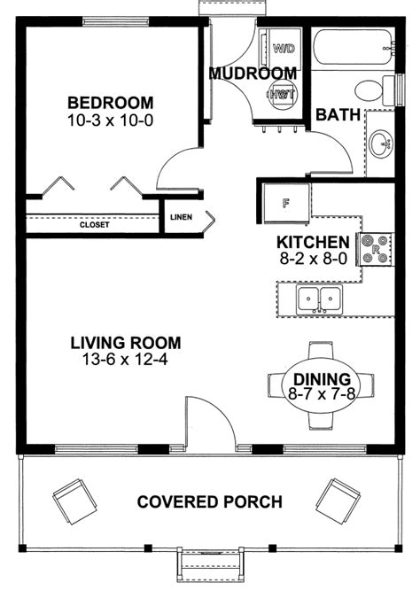 House Plan 99971 Cottage Vacation Plan With 598 Sq Ft House Floor Plans 1 Bedroom