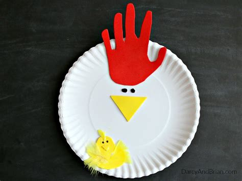 How To Make Craft With Paper Plates - tracing chicken paper plate craft