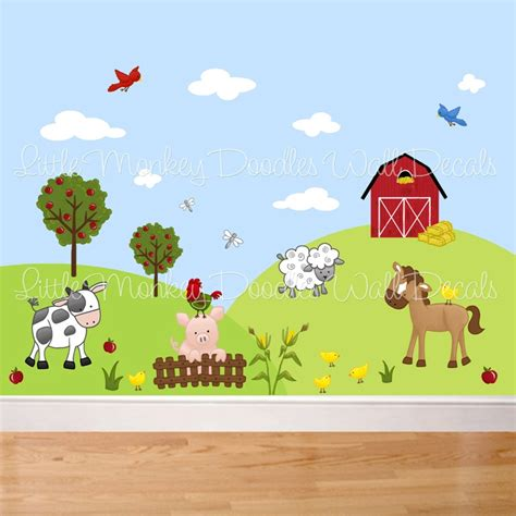 Farm Animal Wall Stickers fabric wall decals farm animal barnyard mural set girls boys