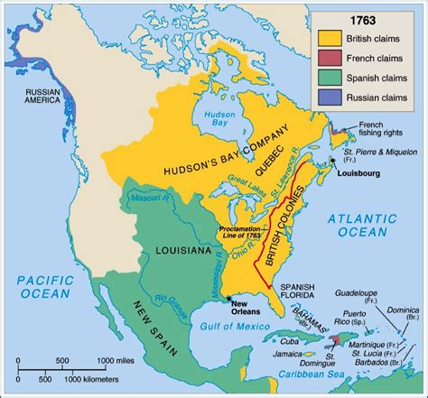 america map in 1763 how did the treaty of divide land in america
