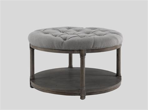 round ottoman table round top coffee table with soft grey tufted fabric
