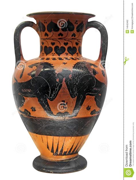 Vases In Ancient Greece by Ancient Vase With Two Lions Stock Photography