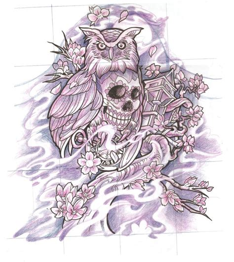 sugar skull owl tattoo sugar skull owl sketch tattoos skulls owl