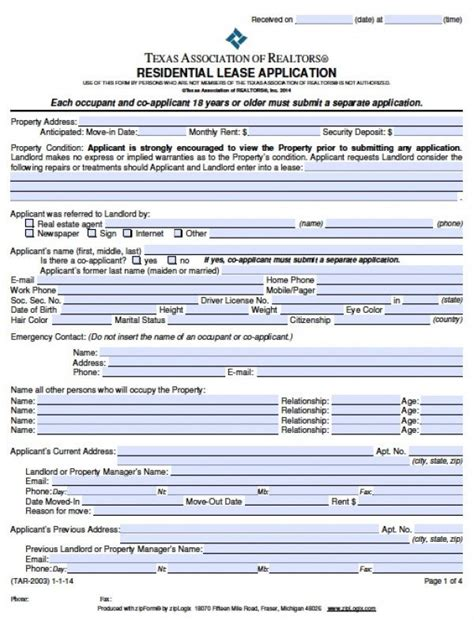 Apartment Lease Application Process Free Rental Application Pdf Word Doc