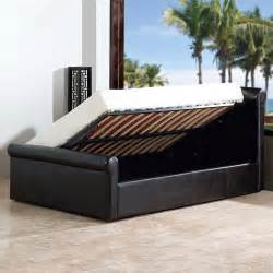 Sleigh Ottoman Bed Amazing Faux Leather Side Gas Lift Ottoman Storage Bed Sleigh Bedstead Ebay