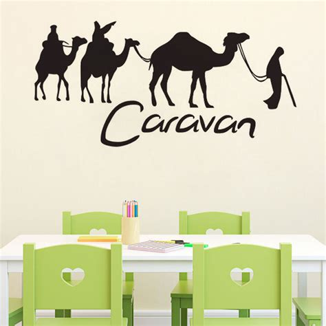 Sticker Wallpaper Dinding Welcome Sweet Home welcome decals caravan and camel wall stickers wallpapers large sticker for