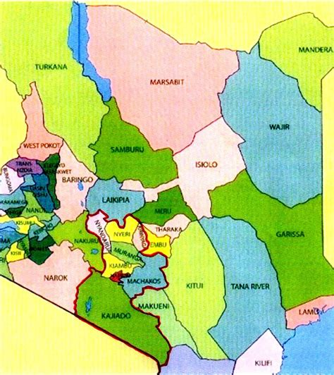 map showing kenya central district of the church of the