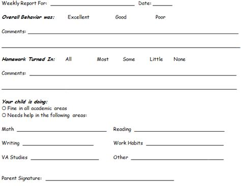 Weekly Progress Report Template Middle School Progress Reports For Students Behavior Template Search