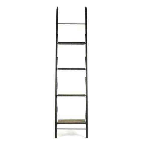 wood ladder bookcase martina industrial loft reclaimed wood ladder bookcase