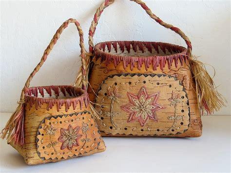 Handmade Baskets - vintage baskets birch bark handmade pair