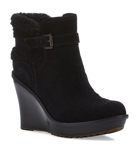ugg anais wedge boot in black lyst