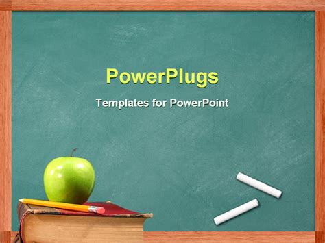 Powerpoint Template Apple And Pencil On Book In Front Of Free Ppt Education Templates