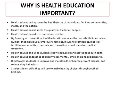 is health education important in schools ppt