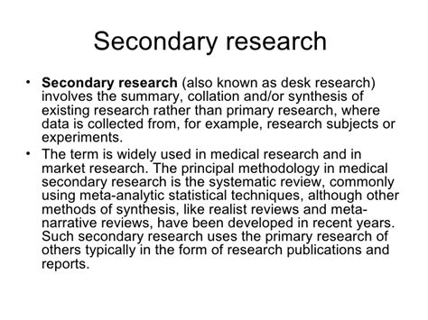 secondary research dissertation primary and secondary research