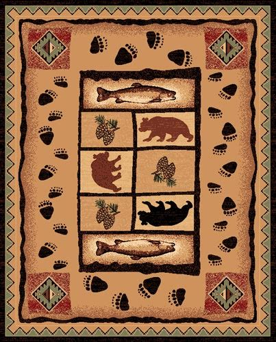 Pw Rugs by Pw Lodge368 5x7 Fish Pinecone Area Rug 5 X 7