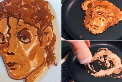 membuat pancake unik ada pancake gambar muka michael jackson seperti apa