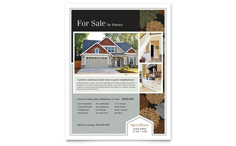 suburban real estate flyer template word publisher