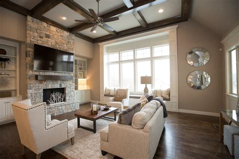 room to room fan traditional living room design with natural stone