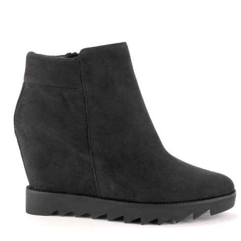 ash iron wedge boots black suede