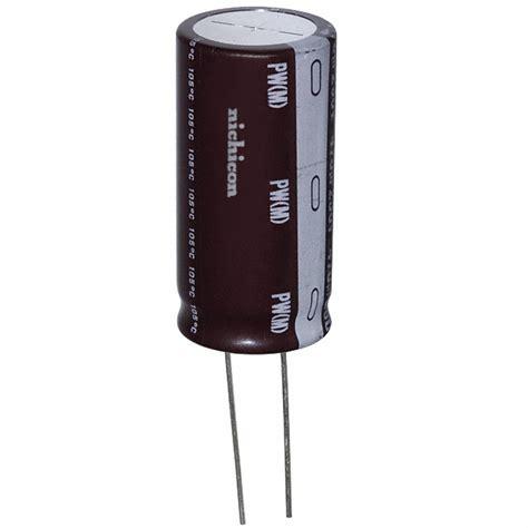 capacitors nichicon upw2w101mrd nichicon capacitors digikey