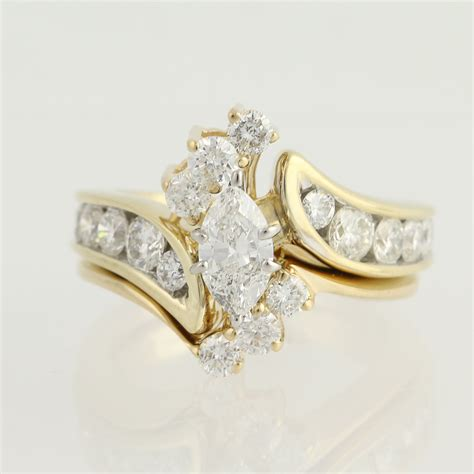 engagement ring wedding band 14k gold marquise