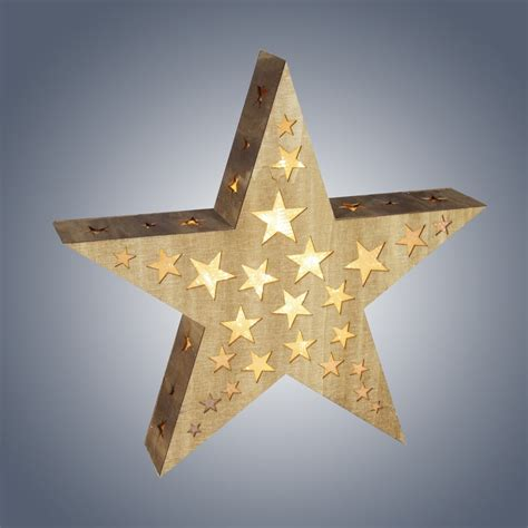 Star Shaped Lights by Dar Lighting Led Wooden Star With Hologram Cut Outs