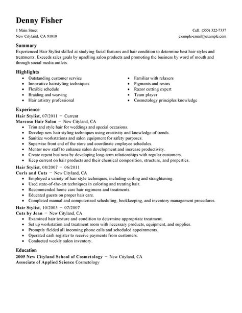 Hair Dresser Resume by Hair Stylist Resume Exle Personal Services Sle Resumes Livecareer