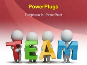 team building powerpoint template 3d small holding in the word team 3d image
