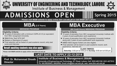 Mba Admission 2014 by Uet Lahore Mba Admission 2014 Last Date To Apply Mba Executive