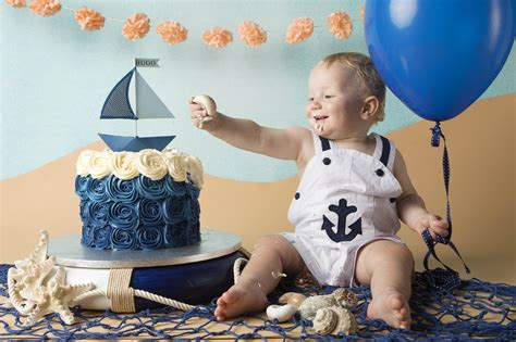 Nautical Cake Smash Photo Shoot By Julia Boggio Of Boggio