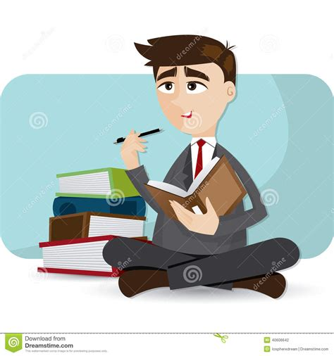 thinking in pictures book businessman thinking with book stock vector