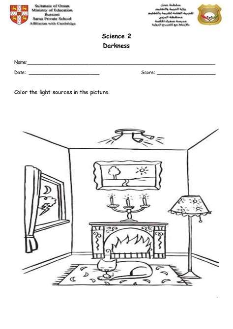 light sources worksheet 3