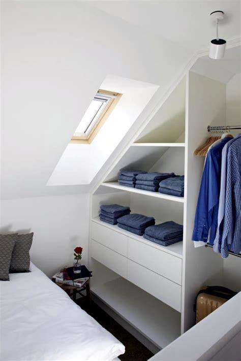 built  wardrobe sloping roof interior design ideas