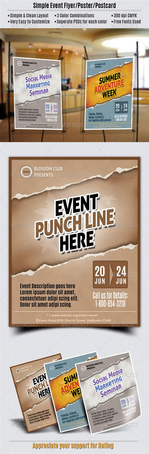 Simple Event Flyer Poster Postcard By Geon Graphicriver Simple Event Flyer Template