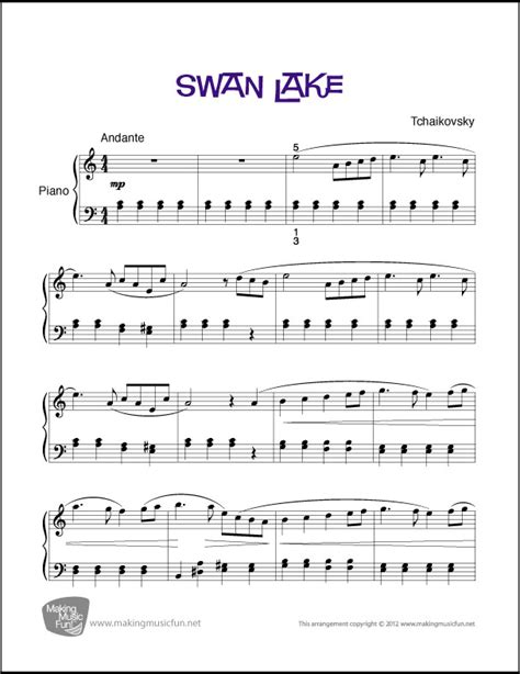 Free Printable Piano Sheet Music Intermediate | swan lake tchaikovsky easy piano sheet music