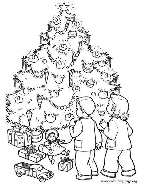christmas tree with gifts coloring page christmas christmas tree surrounded by gifts coloring page